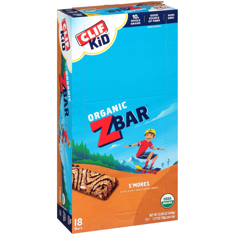 CLIF KID ZBAR - Organic Energy Bar - S'mores - (1.27 Ounce Snack Bar, 18 Count)