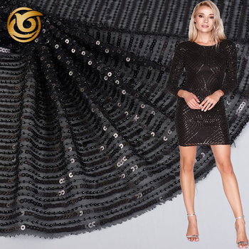 Hot sale Oem accept popular 100 polyester black beaded mesh fabric sequin