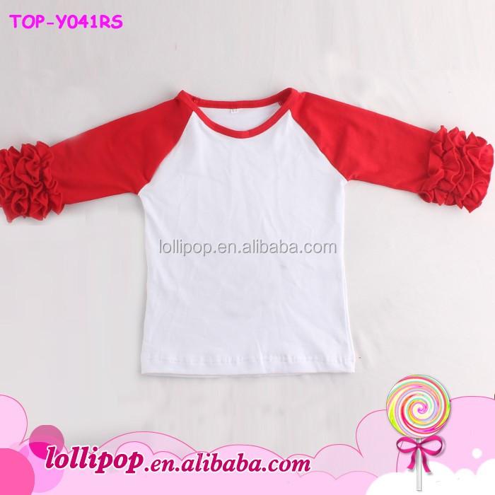 967354b1 Double Ruffle Layer Baby Girl Ruffle Icing Raglan Shirts Kids 3/4 Sleeves Icing  Ruffle
