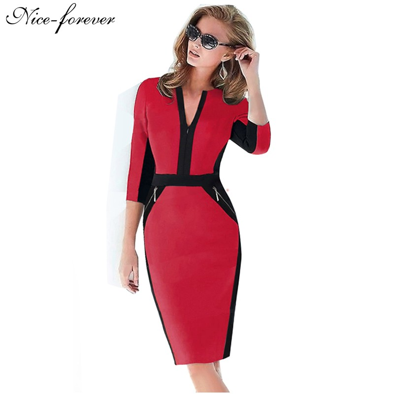 Nice forever Office Women Zipper special New Arrival Plus Size fashion patchwork V neck formal work