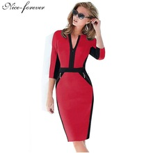 Zipper special 2014 New Arrival  fashion patchwork V neck  formal wear to work evening party bodycon Midi office dress 837