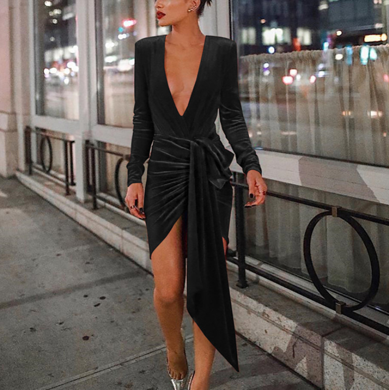 2019 New Arrivals Long Sleeve Dresses Women Lady Elegant Velvet Dress Women Deep V-neck Sexy Dresses