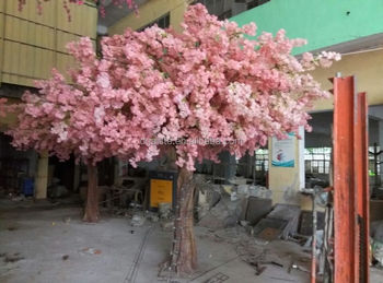 13ft Or 4m Tall Decorative Home Decor Plastic Mini Artificial Indoor Plant Pink Silk Cherry Blossom