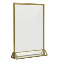 Acrylic Double Sided Frames Display Holder with Vertical Stand and 3mm Gold Border for Wedding Menu Holders