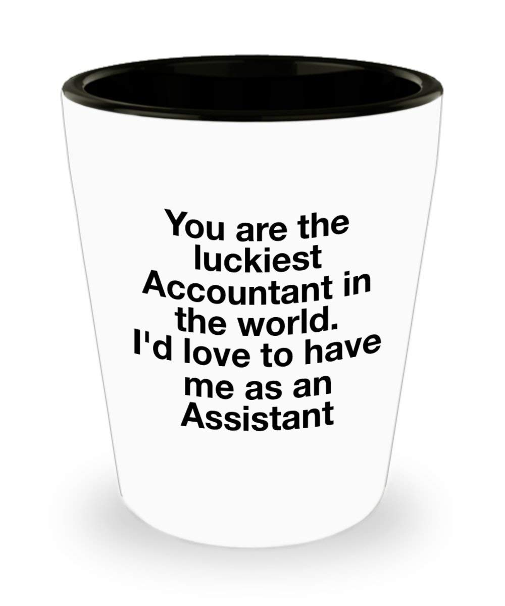 f5843f0f Get Quotations · Accountant Shot Glass, Luckiest Accountant in the World,  Gift Ideas for Boss from Accountant