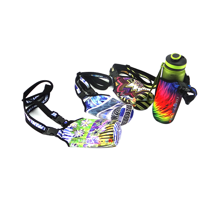 Sports neoprene water bottle carrier with strap