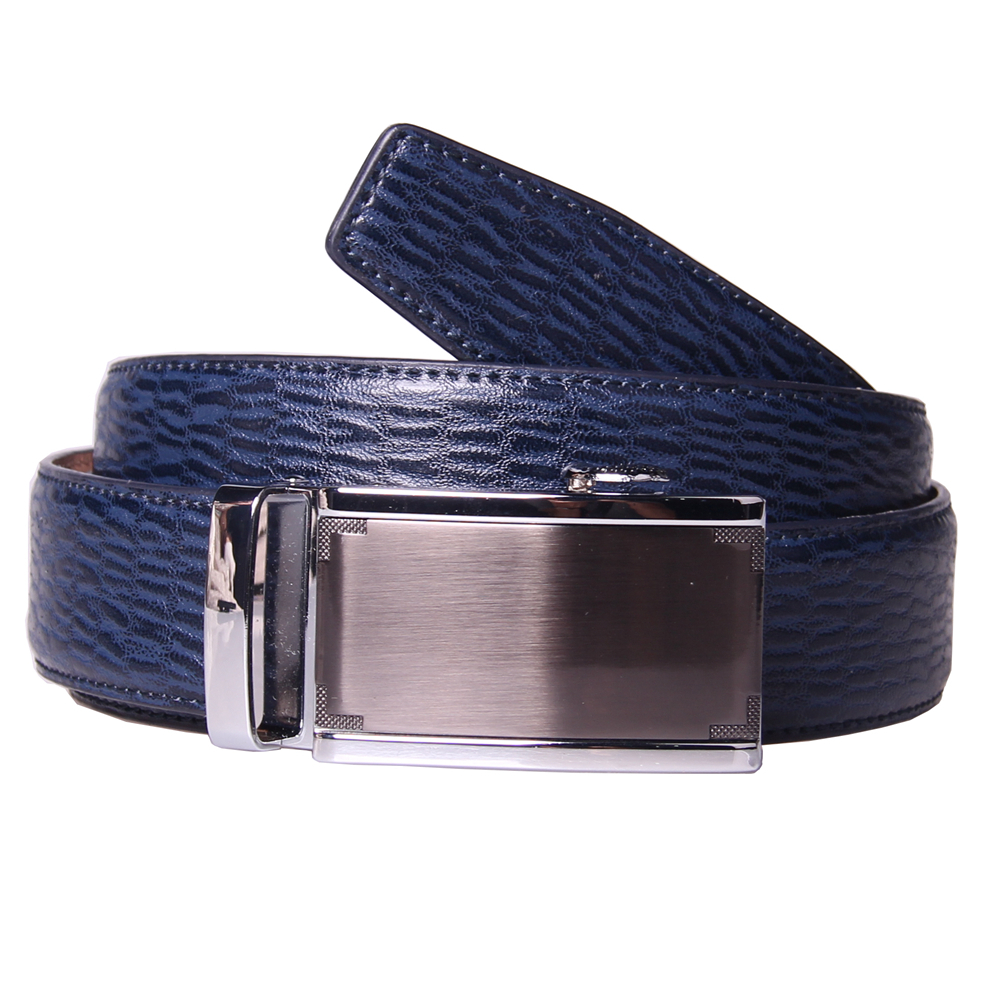 Brand New mens navy blue leather belts custom silver automatic buckle office strap ratchet slide belt for men 2015 high fashion