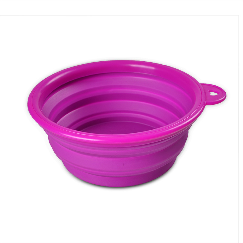 Custom Logo eco-friendly silicone folding collapsible travel dog bowl with hook portable pet dog feeder dog dishes