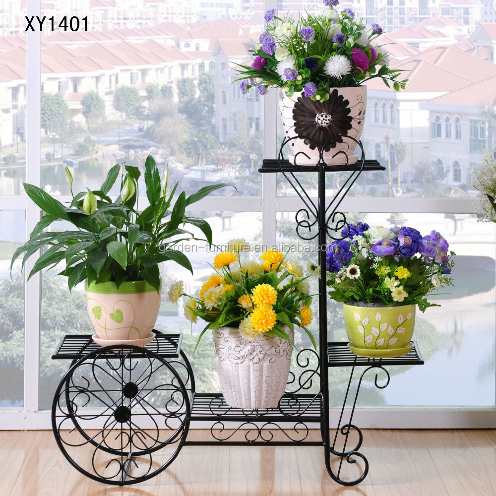 new wrought iron bicycle garden basket 3 tier patio porch plant
