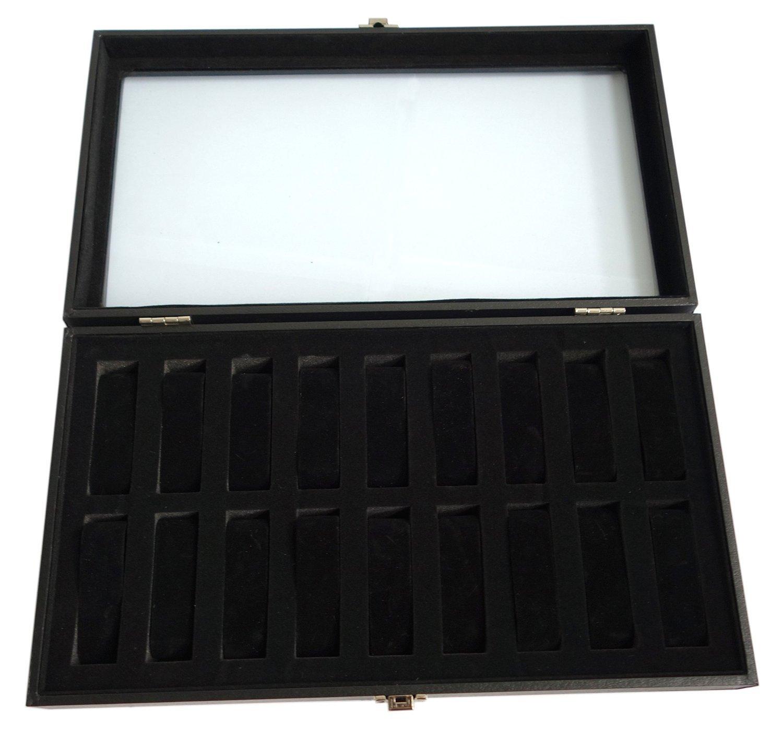 Sodynee® 18pc Black Watch Travel Tray Showcase Display Case Unit w/ Glass Top
