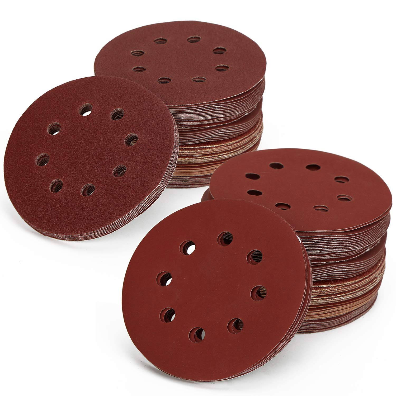 80 Pieces 5 Inch 8 Holes Sanding Discs/Hook and Loop Sandpaper - 40/80/ 120/240/ 320/600/ 800/10000 Grit Sanding Disc Sheets Pads Assortment for Random Orbital Sander