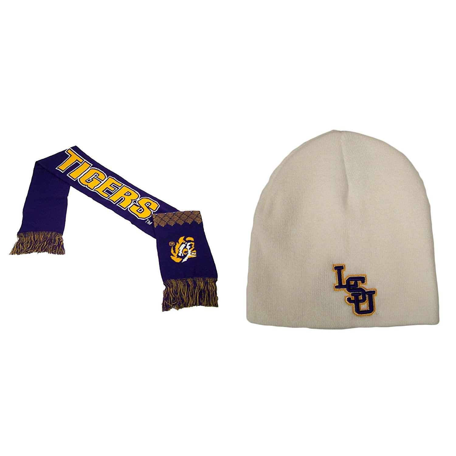 newest 4c2d8 15677 Get Quotations · NCAA LSU Tigers Campus Team Scarf And Ez Dozit Beanie 2 Pack  Bundle