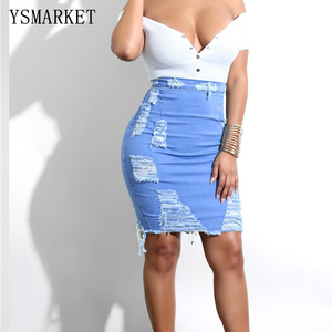 High Waist Distressed Pencil Skirt Blue Light Wash Denim Women Sexy Casual Mini Summer Skirts Fashion Ripped Bodycon Skirt