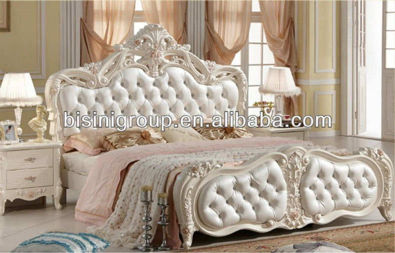 New Clical Style Double Bed In Pure White With Genuine Leather Royal Clic French Set Product On Alibaba