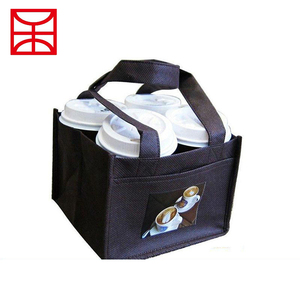 Promotional custom non woven fabric coffee cup water bottle carry bag