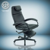 Cow leather office chair with nylon base