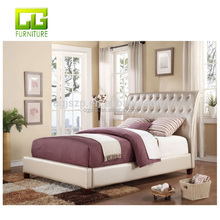 Button Tufted Headboard with crystal Two Tone Brown Crocodile PU Queen King Bed