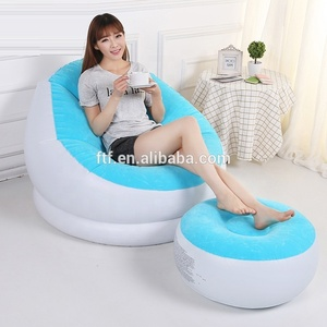 blue PVC flocking inflatable sofa,outdoor inflatable furniture,inflatable footstool