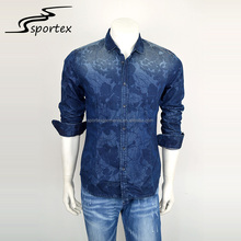2017 Hot sale OEM personal fashion long sleeve durable slim men blue printed denim shirt for wholesale