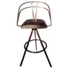 Antique Bar Stool - Brown Vintage Leather