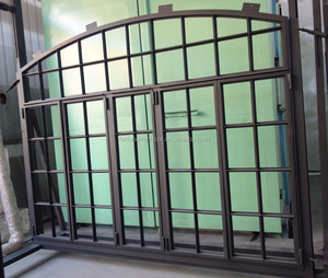 custom designs for interior arch top carbon steel window with warm edge tempered insulating lowe glass