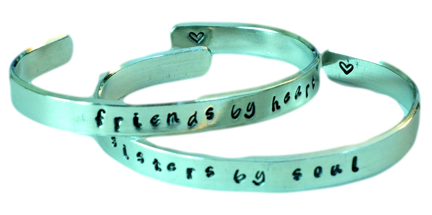 Friends By Heart/Sisters By Soul - Hand Stamped Aluminum Cuff Bracelets Set Forever Love Friendship BFF