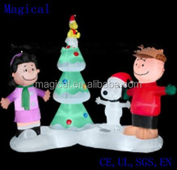 peanuts gang musical light show scene christmas inflatable