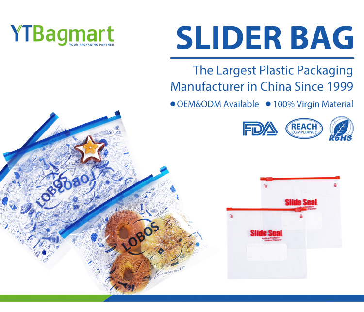 YTBagmart Ldpe Slide Zip Lock Plastic Bag Resealable Food Storage Slider Freezer Bag