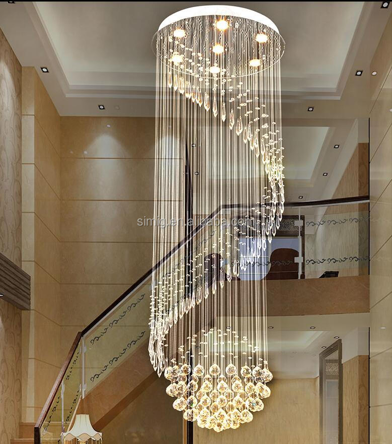 Luxury rotary double modern simple hanging crystal chandelier