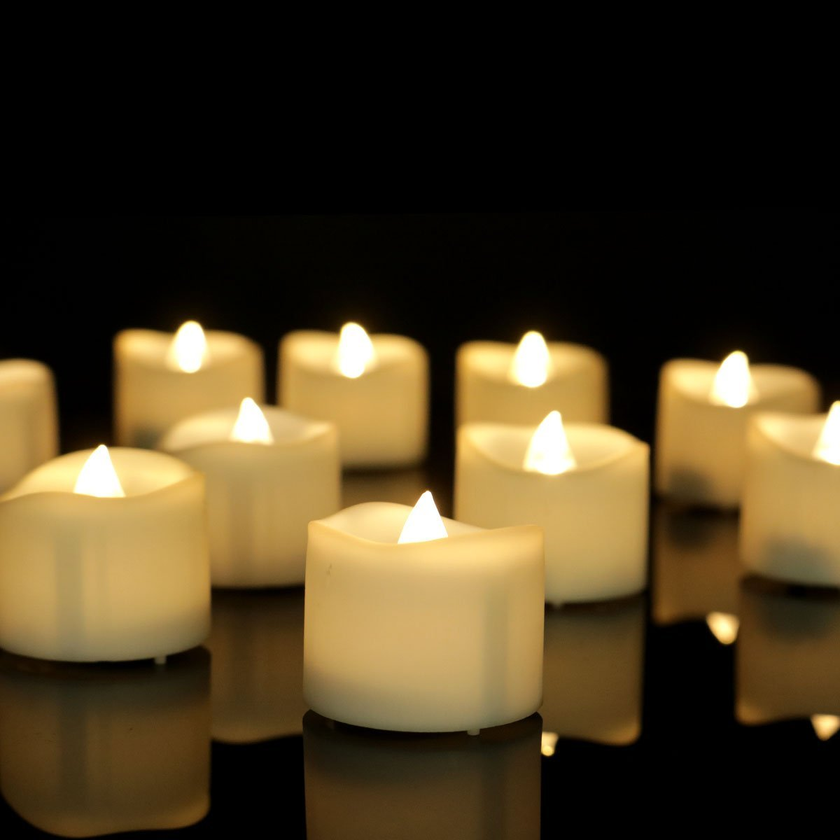 Get Quotations Youngerbaby 12pcs Warm White Flickering Tea Light Candles With Decor Rose Petals Flameless Led Tealights