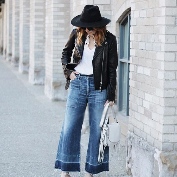 01e70d33cf jeans pierna flaca. Parche-trabajó Flare elásticos de corte Slim pantalones  largos con pierna ancha Denim Bell Fondo