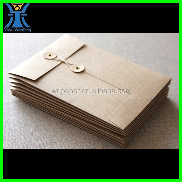 Yiwu New Arrived plain wholesale blank unique craft strong Kraft paper envelope with string