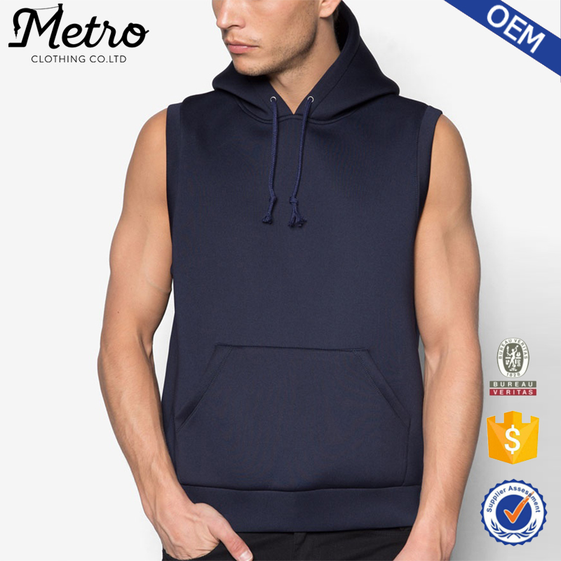 Neoprene black fitness sleeveless pullover hoodie for men