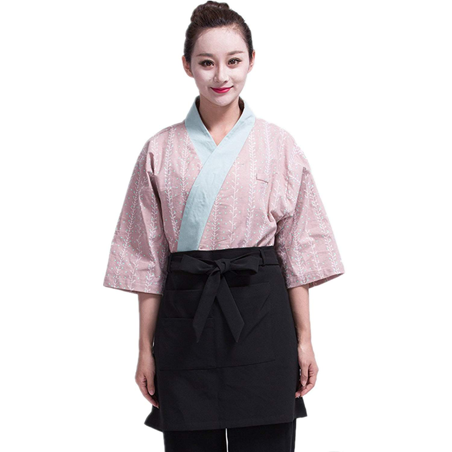 XINFU Sushi Waiter Branch Printing 3/4 Long Sleeve Restaurant Japanese Kimono Kitchen Work Uniform