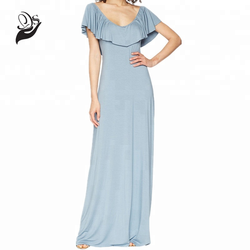 Modal Spandex Draped Popover Front Collar Glamorous Maxi Dress