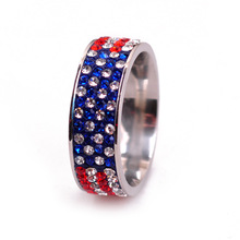 GQ1020 Europe and the United States popular women's stainless steel crystal ring men's diamond ring American flag ring