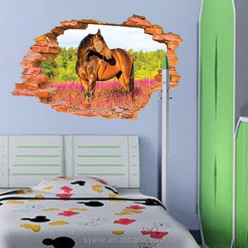 custom vinyl wall decals 3d window horse wall stickers adhesivos