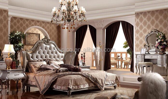 European Style King Size Bed Elegant Purple Wood Carving