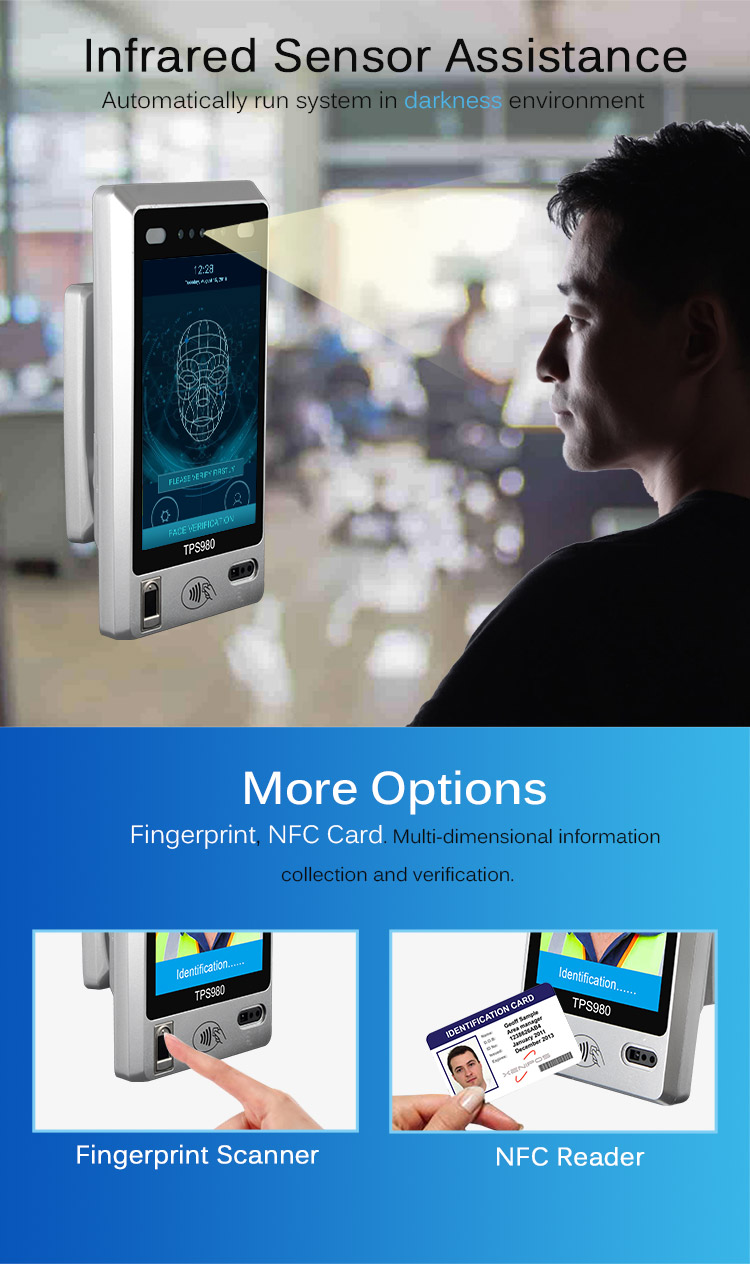 Telpo TPS980 Android Touch Screen face recognition biometric machine door  access system, View Android Touch Screen face recognition machine, Telpo
