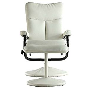 MID-CENTURY LIVING Olivia Bonded Leather Swivel Recliner Chair with Ottoman, Olivia White
