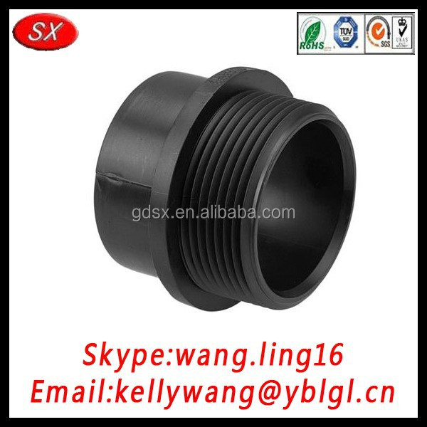 China manufacture OEM black ABS plastic pipe fitting for male adaptor passed ISO9001