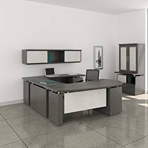 "Mayline 72"" L-Shaped Desk W/Wall Mount Hutch Desk: 72""W X 108""D X 29.5""H Wall Mount Hutch: 72""W X 16.5""D X 16.5""H 1 5/8"" W/Knife Edge Detail - Textured Driftwood - Bridge on Left (Right Shown )"
