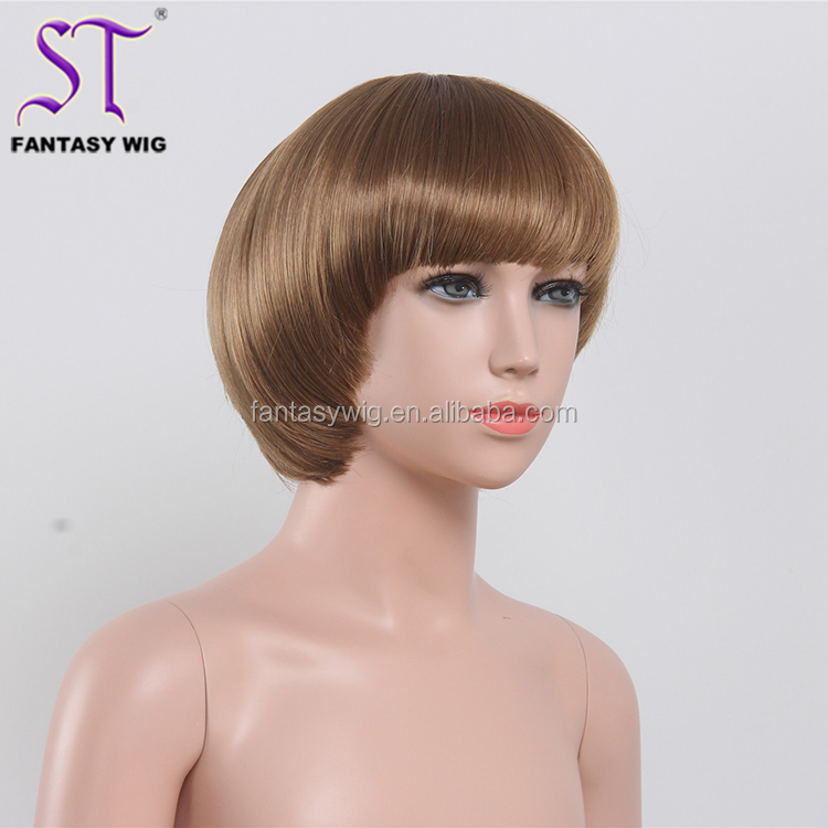 8inch Bob Smooth Mushroom Short Style Cheap Kids Synthetic Hair Wigs For Costume