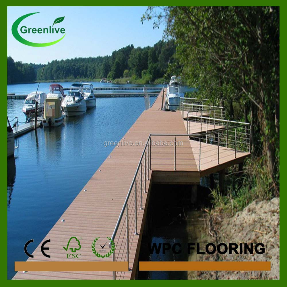 Waterproof wood plastic composite dock boards