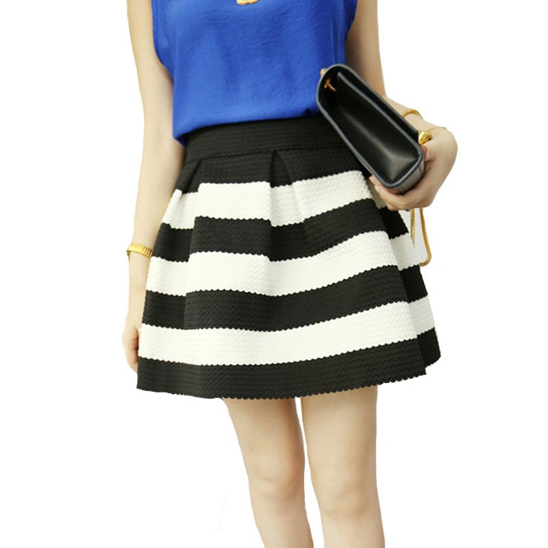 67fe7217d2b014 Get Quotations · Free Shipping Summer Autumn Sexy Short Mini Stripe Skater  Skirts Elegant Tutu Skirt White Black Women