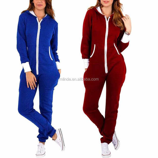 636c1e93d0 Adult Onesie plain colour Women s Ladies Cotton Polyester Fleece Onesie  Hoodie Jumpsuit Playsuit adult pajama bodysuit
