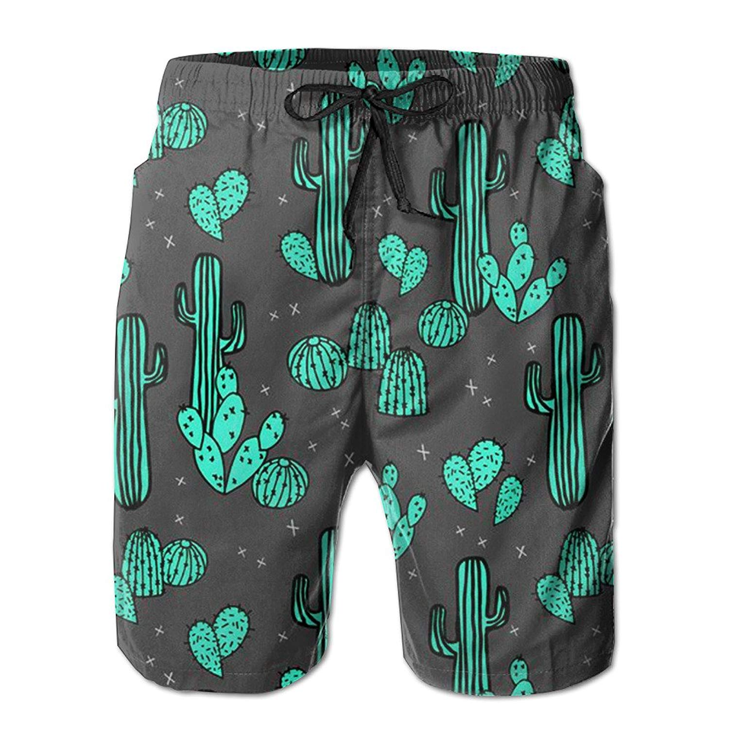 caf2428d4a Get Quotations · Green Cactus Men's Shorts Swim Trunks Lightweight Quick  Dry Beach Shorts