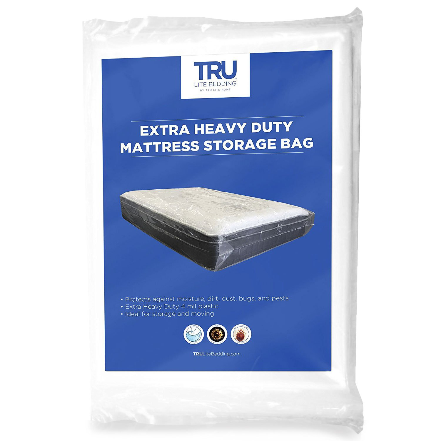 TRU Lite Mattress Storage Bag - Mattress Bag for Moving - Heavy Duty Extra Thick 4 Mil Plastic - Fits Standard, Extra Long, Pillow Top Sizes - Queen Size
