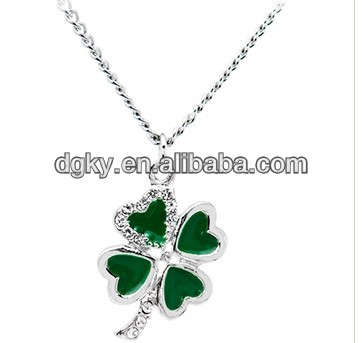 Jeweled Piercing Heart Shamrock Necklace