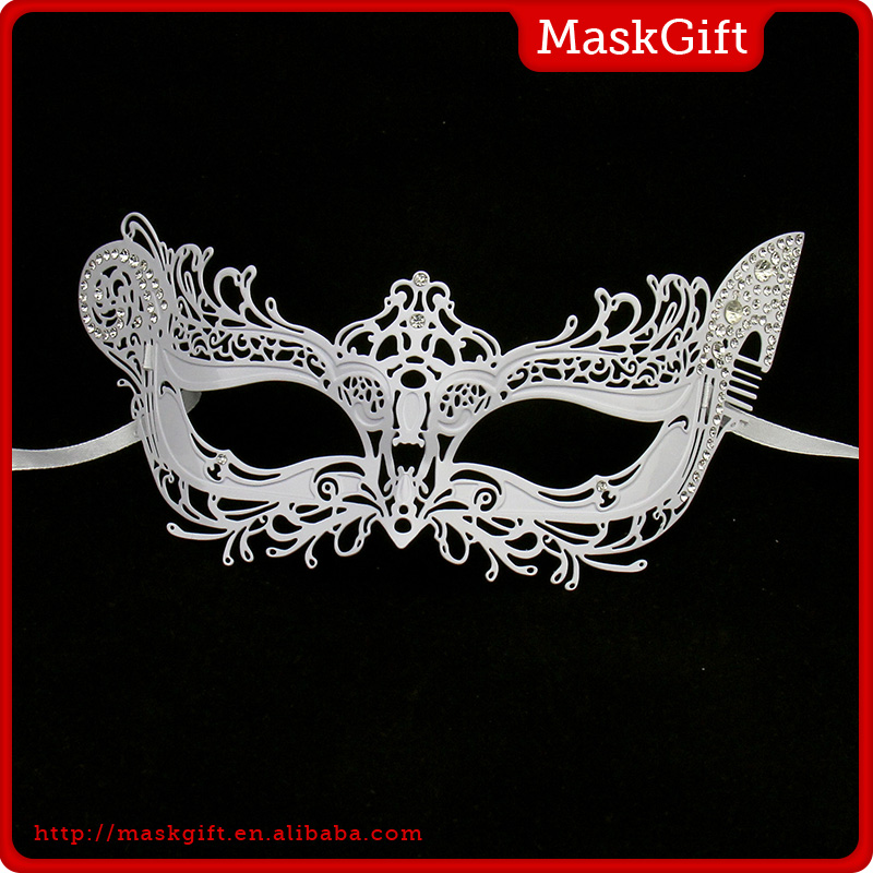 Wholesale party supplies re-use metal women venetian mask ME003-WT